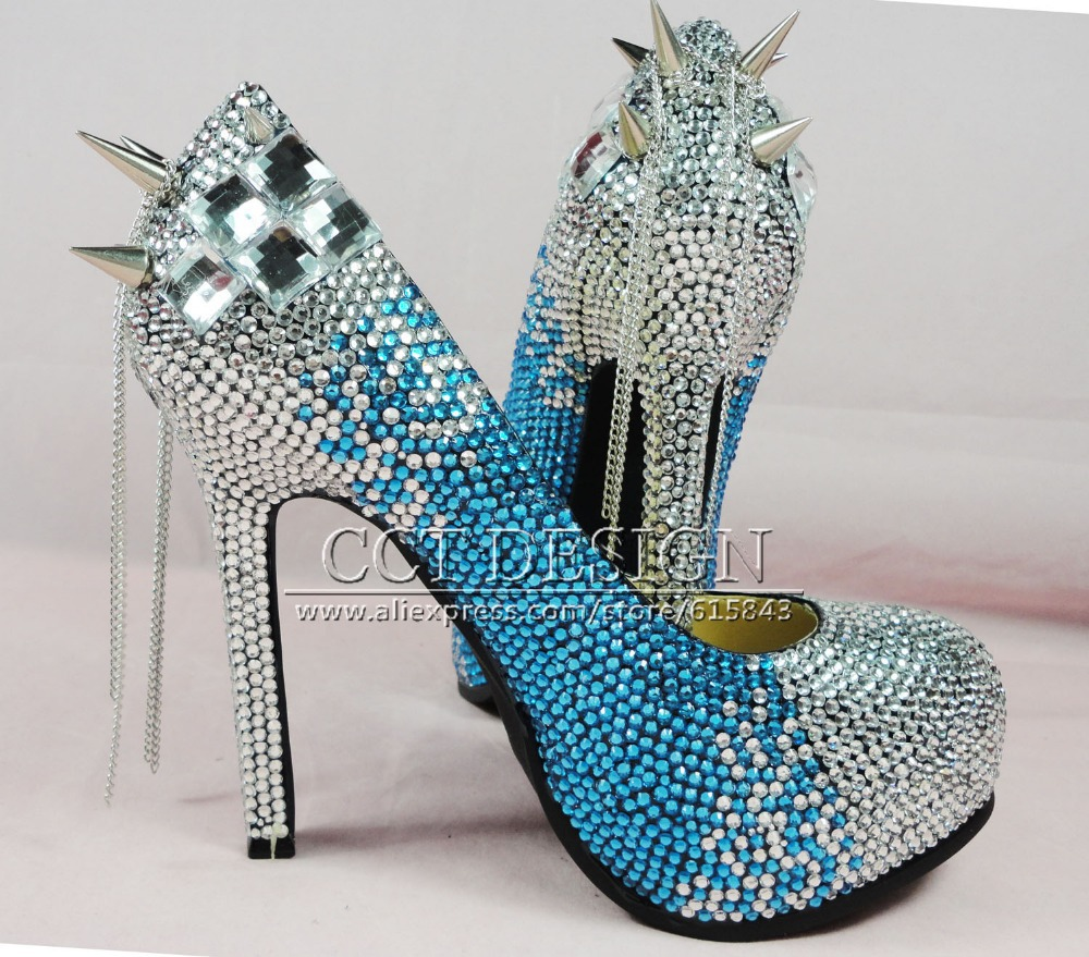 Cheap Silver Heels With Rhinestones