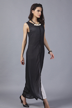 Summer style new free shipping hole sexy slim black chiffon Beautiful fashion casual long dress CS04(China (Mainland))
