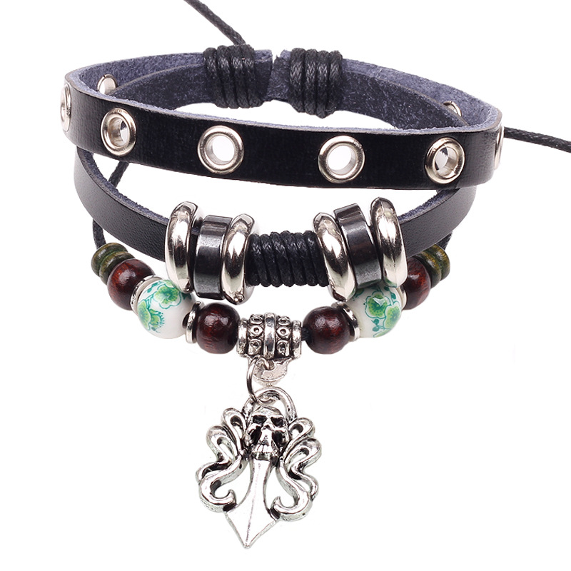 Handmade Multilayer New Punk Vintage Charm Brown Beads Skull Leather Bracelets Men Jewelry Accessories(China (Mainland))