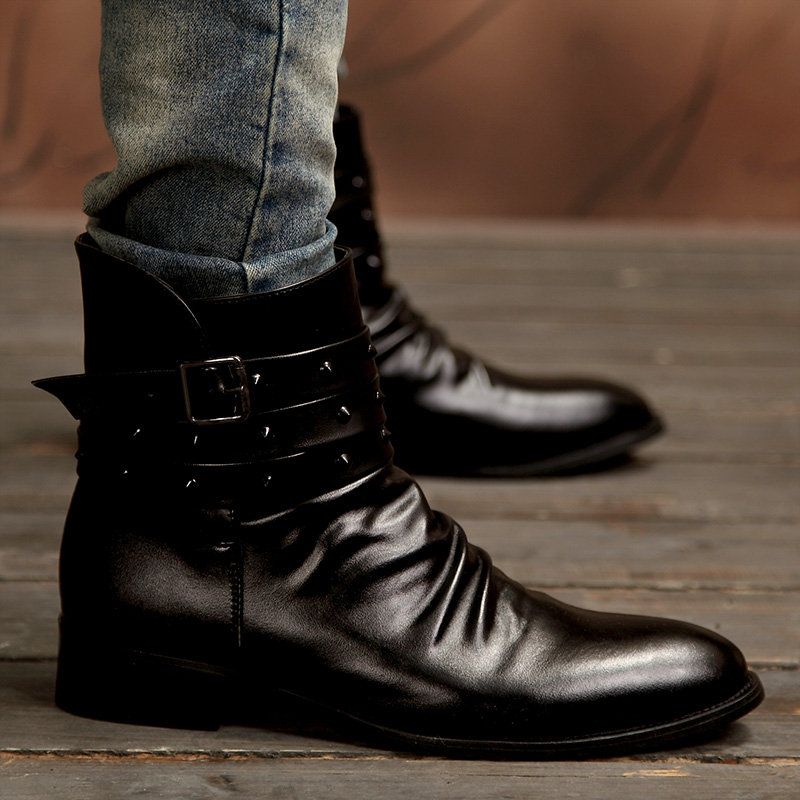 Men s winter boots trend martin boots increased high skateboarding shoes rivet font b japanned b