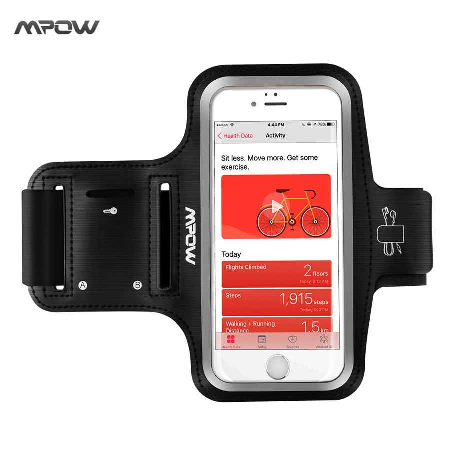 Mpow Running Sport Armband Adjustable Sweat-proof Case w/ Earphone and Key Holder for iPhone 7 6s 6 / Samsung Galaxy S7 S6 etc(China (Mainland))