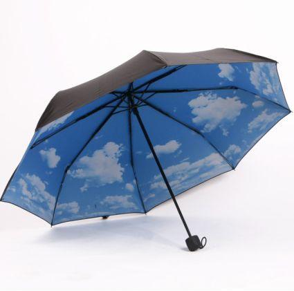 Amazing Super Anti-uv Sun Protection Parasols Rain Umbrella Blue Sky 3 Folding Gift(China (Mainland))