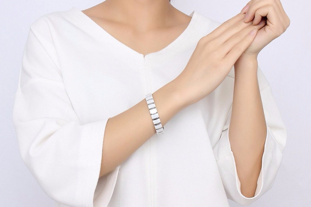 Men bracelet Magnetic Healthy Jewelry White 11