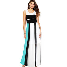 Vfemage Womens Summer Elegant Vintage Chiffon Charming Contrast Colorblock Fit and Flare Casual Party Beach Long Maxi Dress 1319(China (Mainland))