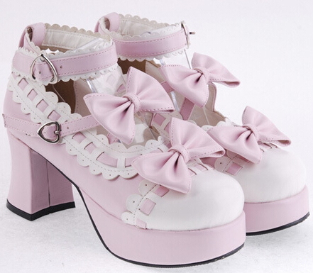 2014 summer women lolita stores Pink with White Lace PU Sweet Lolita Shoes Bowtie Platform Pumps Cosplay Shoes Plus Size 34-44(China (Mainland))