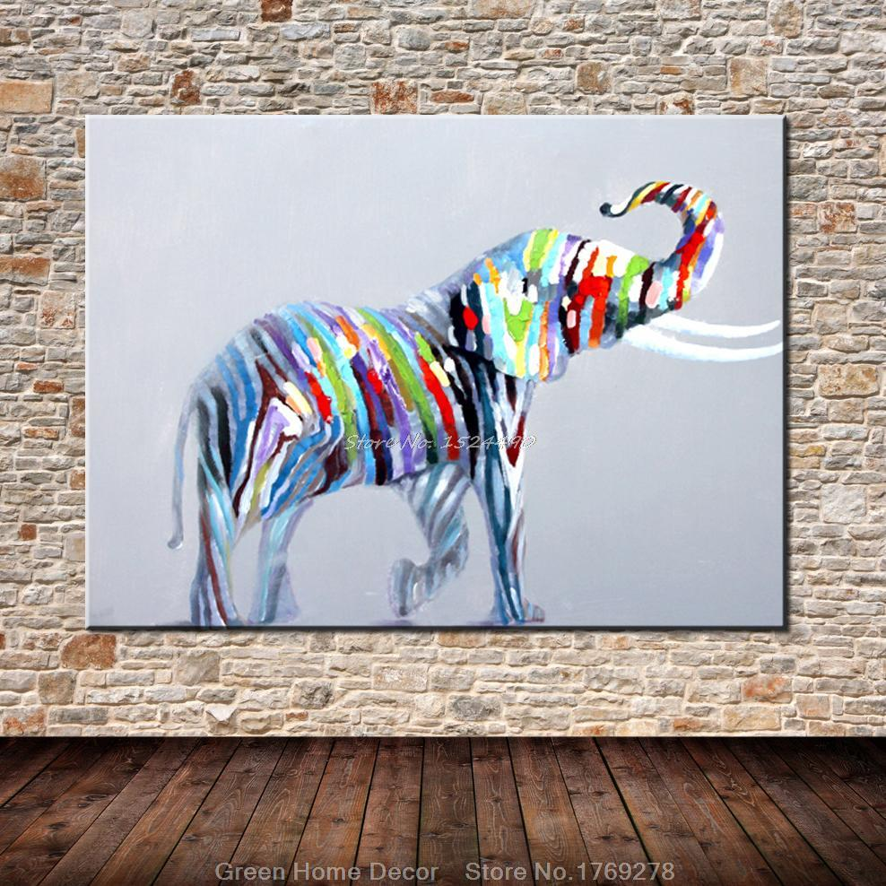 Free Shipping 100% Hand-painted Palette Knife Colorful Elephant Oil Painting On Canvas Wall Art Picture For Home Decor(China (Mainland))