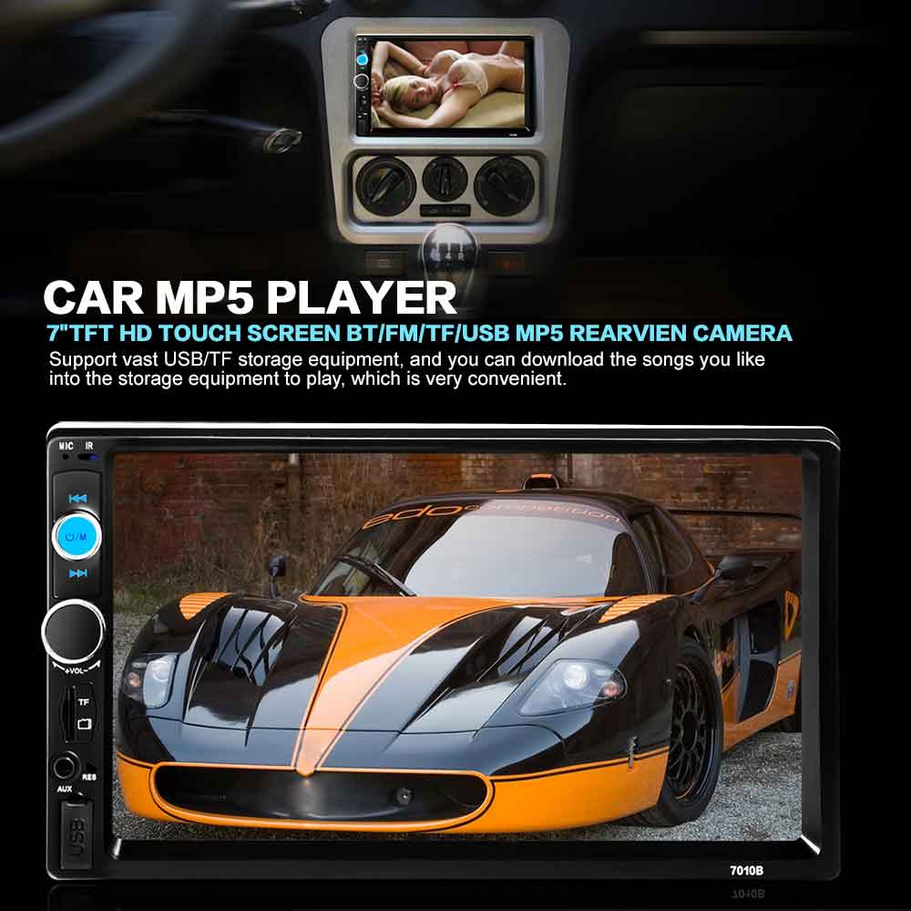 """2017 Car Radio Audio Player In-dash 2 Din FM Car Radio 7"""" Inch TFT Touch Screen Double DIN Video Player Support Rear View Camera"""