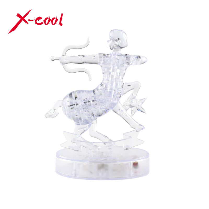 Free shipping XC9047A 3D Crystal Puzzle with Flash Light DIY Model Buliding Toy Home Decoration Constellation Series-Sagittarius(China (Mainland))