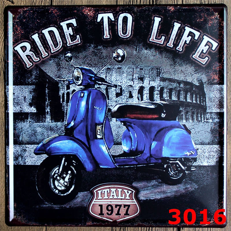 Vintage motorcycle sign decorative plates wall metal for Plaque metal deco pour mur