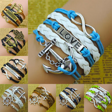 Women Fashion Bracelets Bangles Vintage Anchors Rudder Rectangle Multilayer Handmade Leather & Low - Jewelry-stop Shopping store