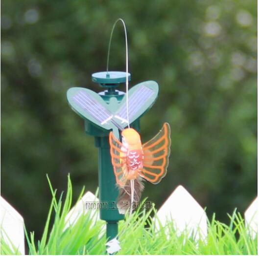 New 2016 Vibration Solar Power Color Dancing Flying Fluttering Butterflies and Hummingbird Garden Decor(China (Mainland))