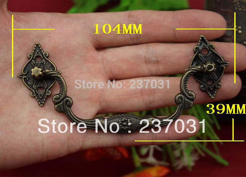 Three eight star handle/alloy/jewelry box handle of archaize restoring ancient ways/handle/wooden handle 104*39MM<br><br>Aliexpress