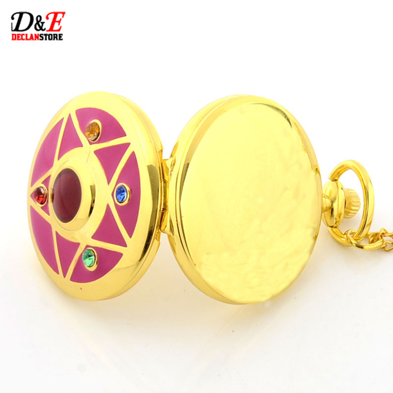 Wholesale Price Colorful Rhinestone Famous Anime Sailor Moon Series Women Golden Roman Quartz Pocket Watch Necklace