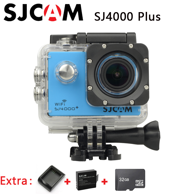 Original SJCAM SJ4000 plus Action Sport Camera WIFI 30M Waterproof 2K Cam +Extra 1pcs battery+Battery Charger+32GB Memory Card(China (Mainland))