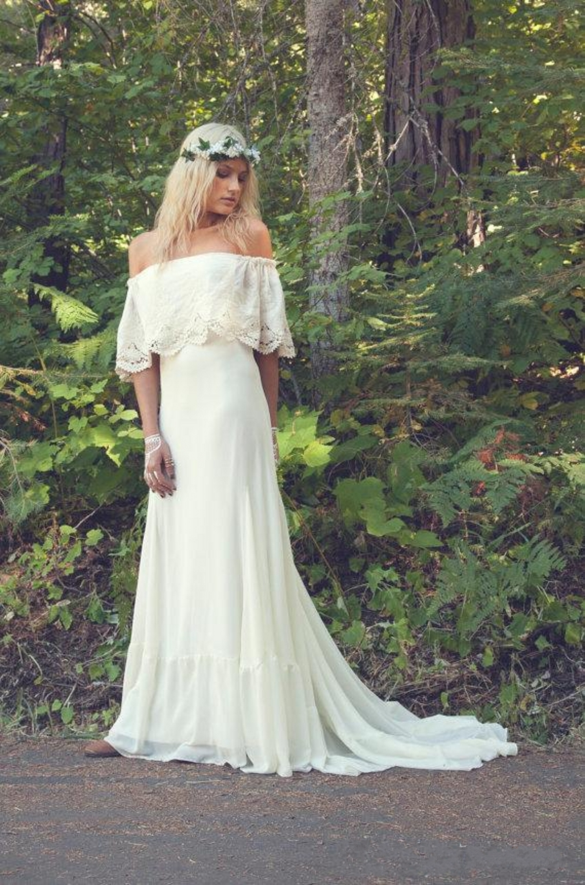 2016 hot sexy off the shoulder a line bohemian wedding