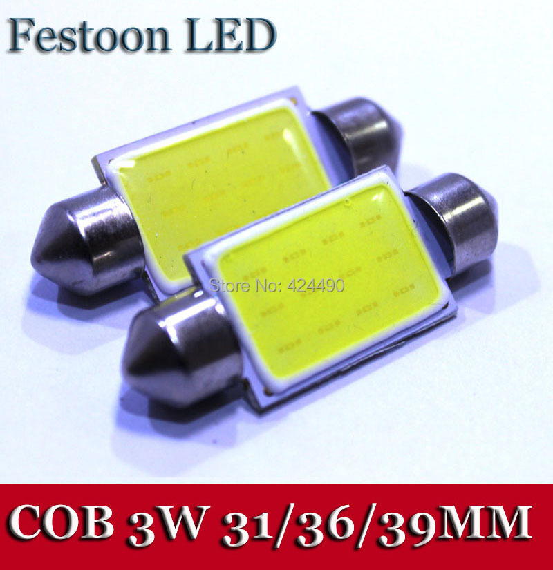 10Pieces lot 2014 New Festoon COB 31MM 36MM 39MM 41MM 3W Car LED Bulbs Interior Dome