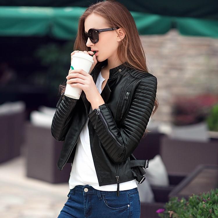 2016 High Street Locomotive Suit Lady New Autumn Turn-down Collar PU Leather Jacket Zipper Pocket Women Fashion Slim Coat Stock - South Omi store
