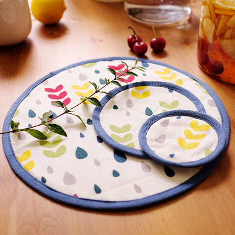 brand round kitchen accessories cloth placemat Europe zakka style rain printed cups pot teapot mat bottle dining table placemats(China (Mainland))