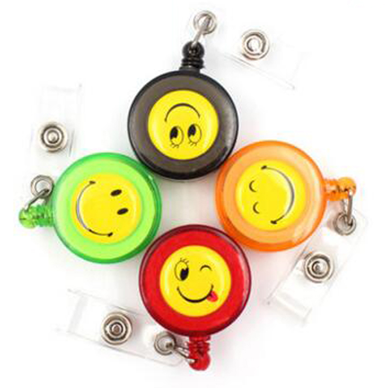 Cute 30pcs/lot Retractable Badge Reel Badge Lanyard New Office School Business Company Household Supplies With Smiling Face(China (Mainland))