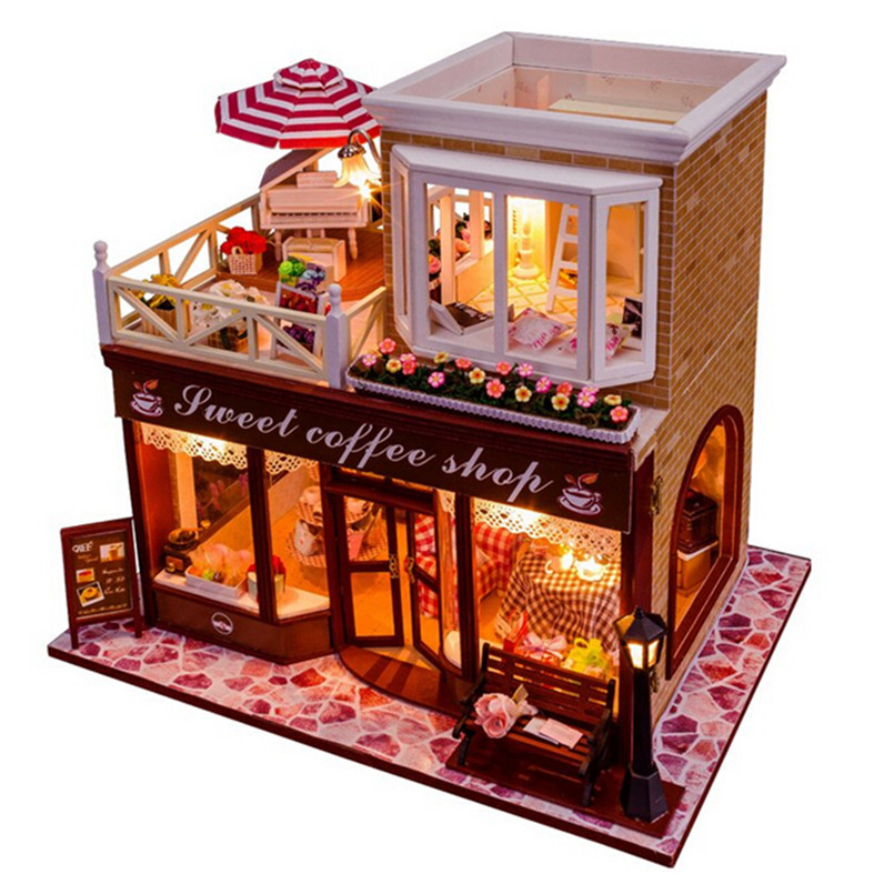 New Arrival Sweet Coffee Shop DIY Wooden Miniatura Doll House with Furniture,Creative Handmade Big Doll House Assembling Toys(China (Mainland))