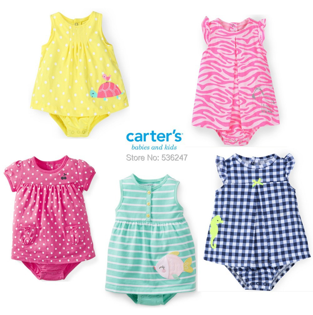 2015 Carters polka dot sunsuit dress infant newborn overall 100% cotton baby romper girls clothes summer size 3-24M(China (Mainland))