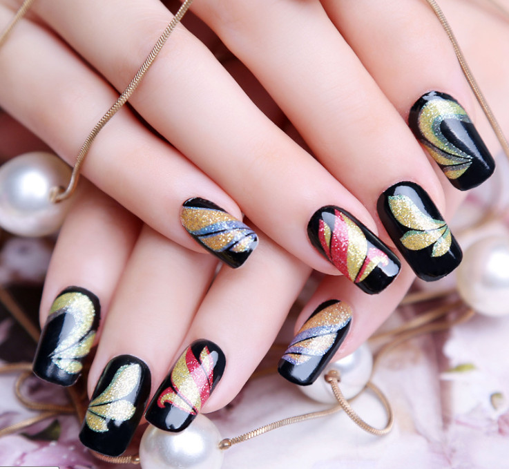 hot sale new fashion beauty colorful black strap on decal manicure nail stickers, nail art , sticker on nails(China (Mainland))
