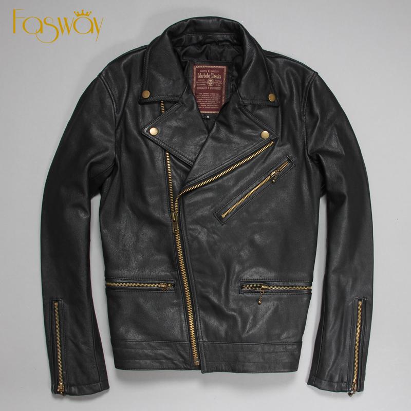 Factory Men's Genuine Leather Jacket For Men Real Sheepskin Goat Skin Black Short Bomber Motorcycle Biker Male Coat Autumn ZH180(China (Mainland))