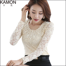 KAMON 2015 Elegant Women White Shirt Long Sleeve Brand Beading Lace Blouse Tops Women Casual Plus Size Blusas Camisas Femininas(China (Mainland))
