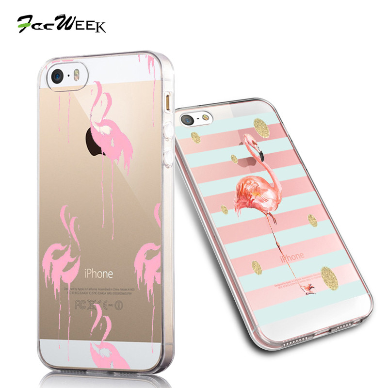 Fresh Beautiful Flamingos Silicone Phone Cases For Apple iPhone 5 5s se Case Bird Back Cover Transparent Soft Shell 3D Colorful(China (Mainland))