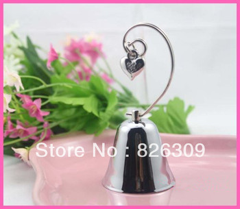 Kissing Bells Place Card holder 60CS/LOT Silver Bell with Dangling Heart Charm Free shiping