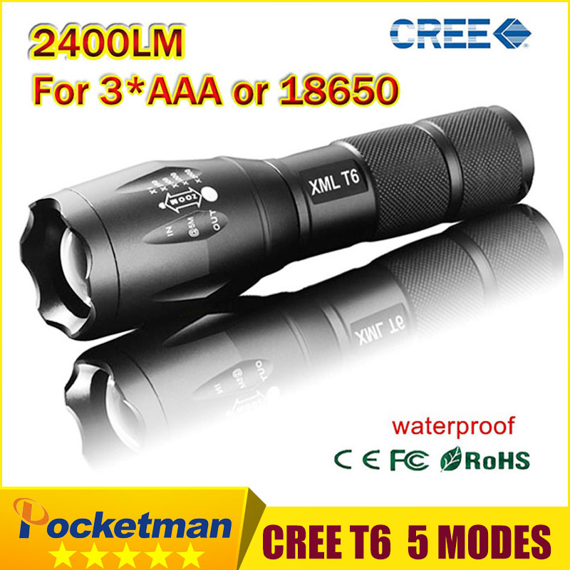 Ultra Bright 5 Modes led flashlight 2400 Lumen Zoomable CREE XML T6 LED 18650 Flashlight Focus Torch Zoom Lamp Light(China (Mainland))