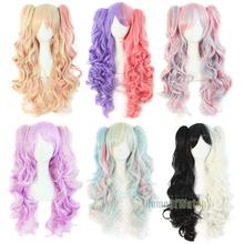 Non-mainstream Anime Cosplay Wig Synthetic Multicolored Wig 65cm Scroll(NWG0CP60352)(China (Mainland))