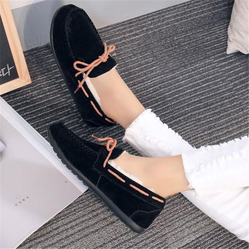Big size 4-9 Women 's shoes 2016 Winter new Peas shoes solid color low wild warm plus velvet cotton flat office shoes