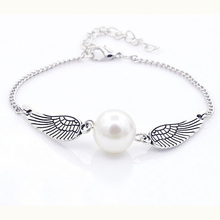 Hot Selling Silver Plated Simulated pearl jewelry Angel Wings Jewelry Dove Peace Bracelet Femme for Women Jewelry Accessories