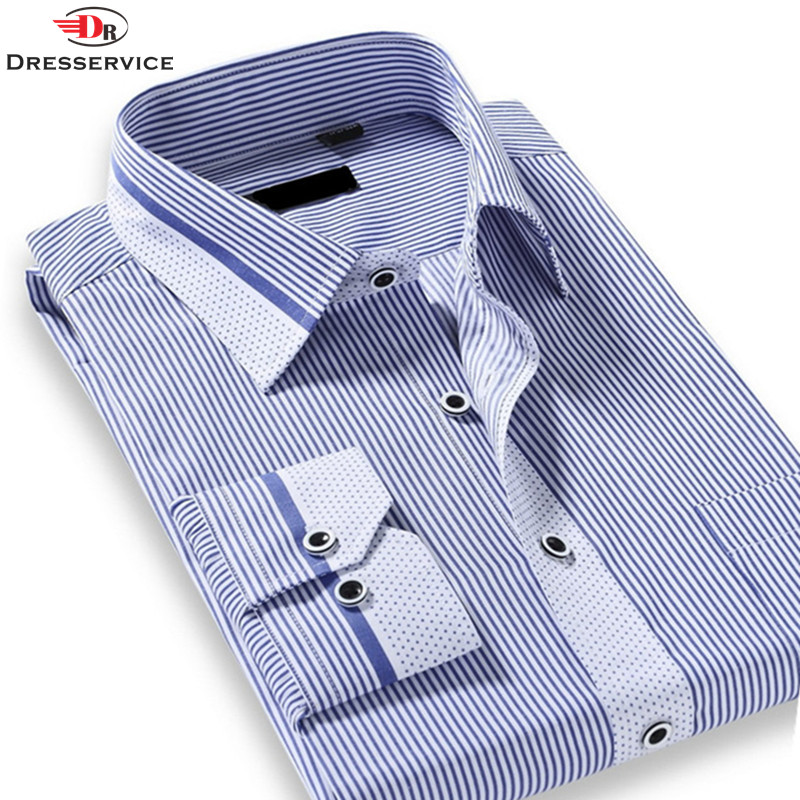US/Euro Size Cotton 2016 Spring Classic Striped Lapel Men Fashion Business Casual Long-sleeved Shirt Camisa Social Masculina(China (Mainland))