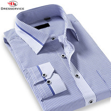 US/Euro Size Cotton 2016 Spring Classic Striped Lapel Men Fashion Business Casual Long-sleeved Shirt Camisa Social Masculina