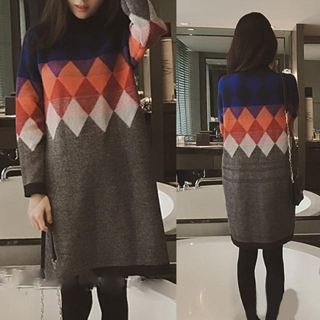 Женские свитера мода зима 2015 корея свободного покроя широкий трикотажные женские ...
