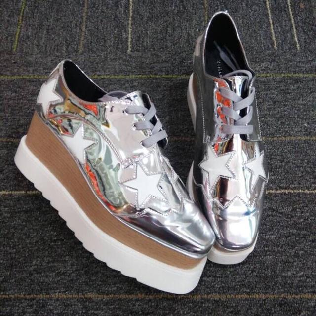 Микрофибры причинно обувь мода звезды женщины клин высокие каблуки платформа весна осень обувь размеры 22 см - 24.5 см