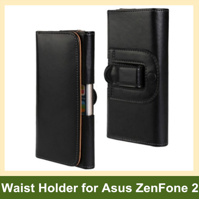Hot PU Leather Waist Holder Flip Cover Pouch Case for Asus ZenFone 2 10pcs/lot Free Shipping