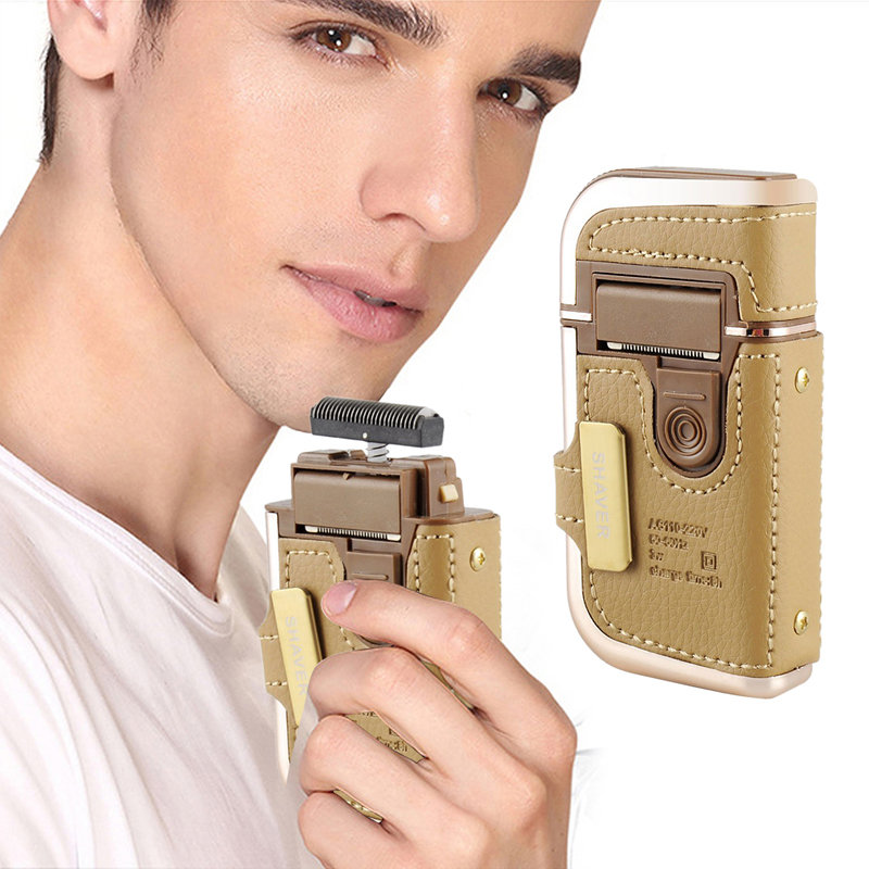 2 in 1 KEMEI Electric Rechargeable Men Shaver Razor Vintage Leather Wrapped RSCW-5600<br><br>Aliexpress