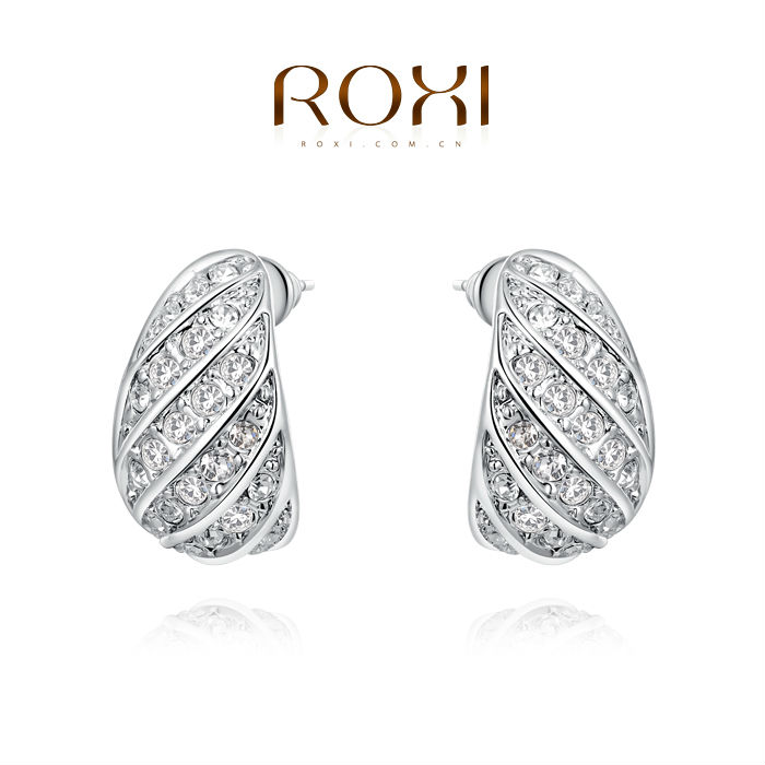Free Shipping ROXI Crystal Plated Small Earrings Mosaic Exquisite Fashion Earrings Rose Gold Girl Earrings New Brand Earrings(China (Mainland))