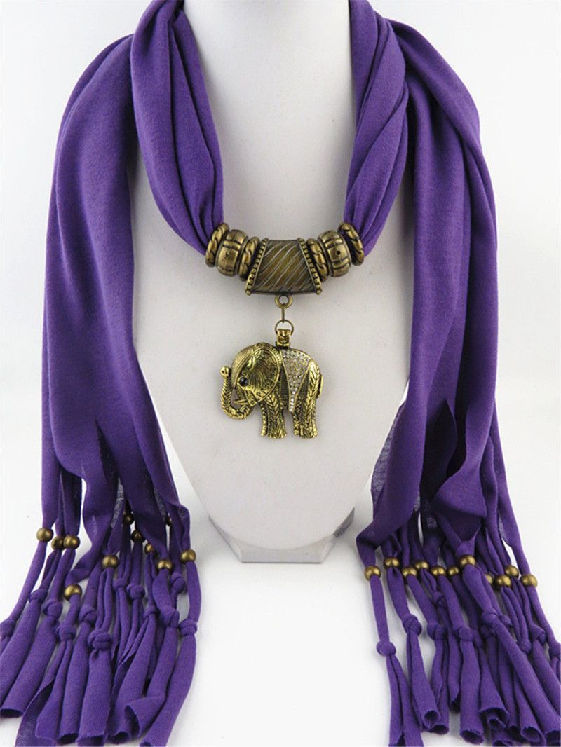 12color purple necessaire scarf women 2015 head scarf with animal white green elephant pendant nood tassal scarfs red blue white(China (Mainland))