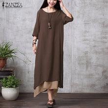 ZANZEA Fashion Cotton Linen Vintage Dress 2016 Summer Autumn Women Casual Loose Boho Long Maxi Dresses Vestidos Plus Size(China (Mainland))