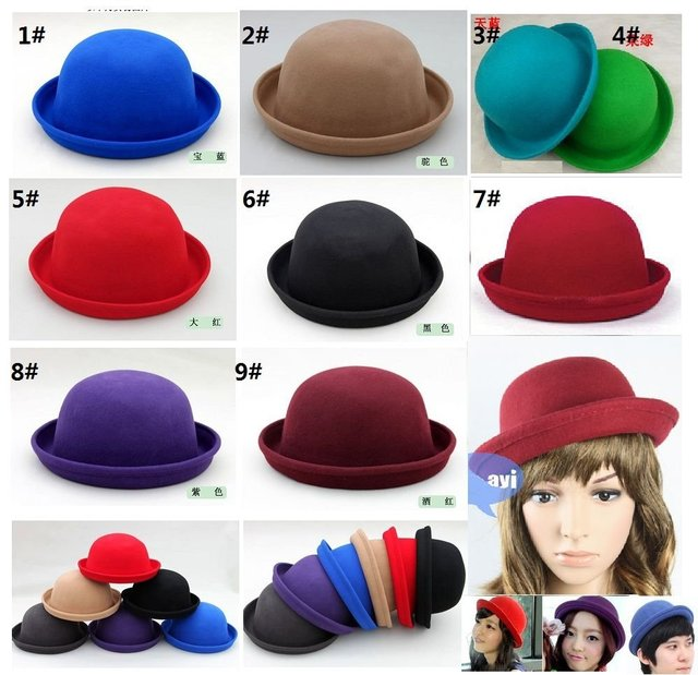 100%wool  Bowler hats /suit for kids /women/men---Hat perimeter :about 56--60cm   /can wholesale+mix color+EMS/DHL free shipping