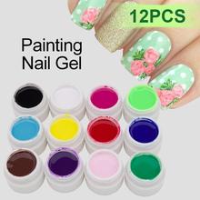 3D Shiny Color Gel Glitter12 Colorful Painting UV Polish Vernis Semi Permanent Nail Art Painted Glue - Brand SaviLand Fashion's store