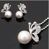 fashion pearl jewelry sets crystal butterfly necklace pearl jewlery free shipping(China (Mainland))