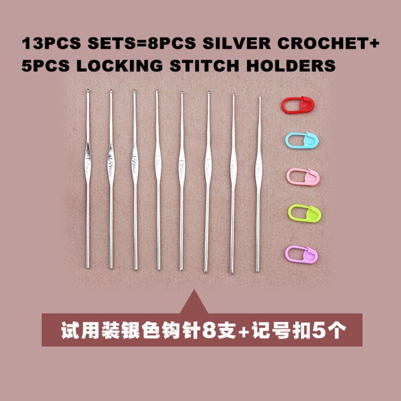 8 Silver Crochet hooks needle sets with 5 pcs Stitch markers holders knitting(China (Mainland))