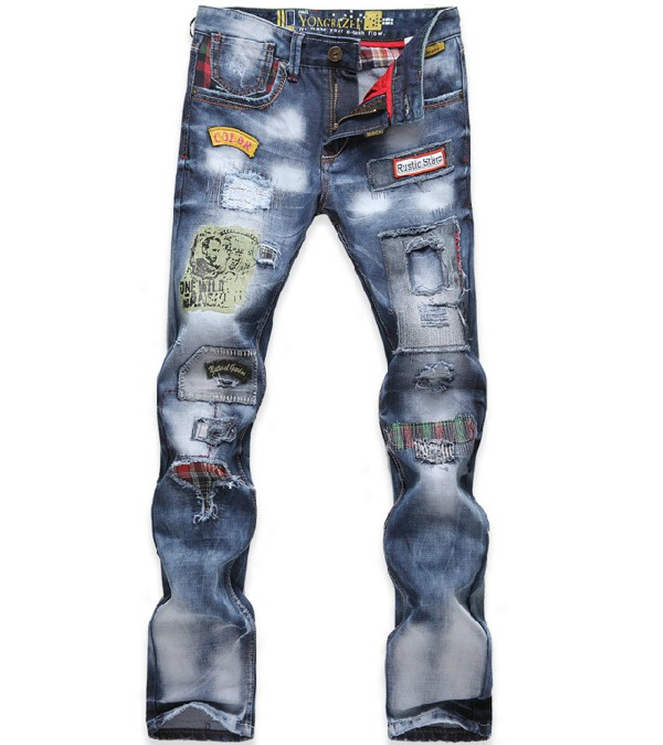 Hot 2014 Men Beggar pants Jeans Korean version Slim Patch Denim trousers Trousers Tide Personality Free Delivery - Flower store
