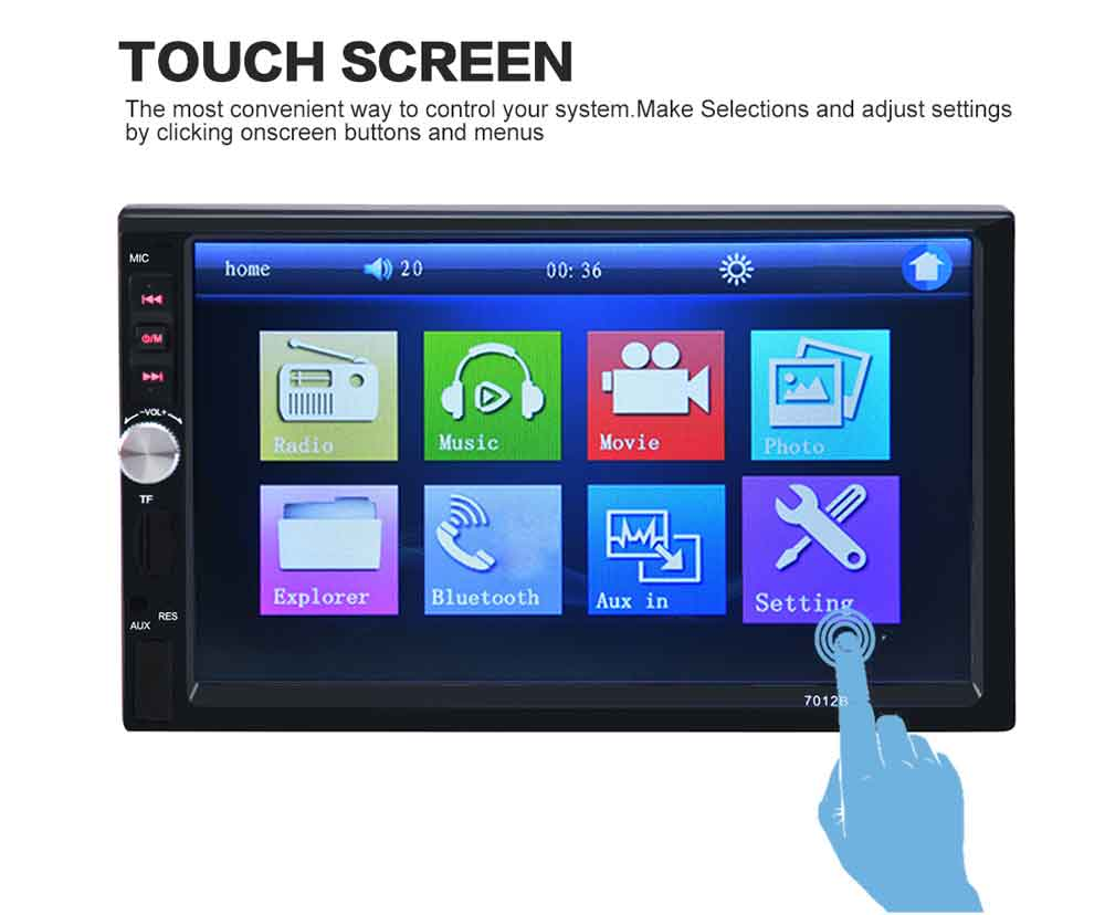 7 Inch Car Audio MP5 Player Support Bluetooth V2.0 TF MMC USB FM Radio with Camera Support IR Wireless Remote Controller 7012B