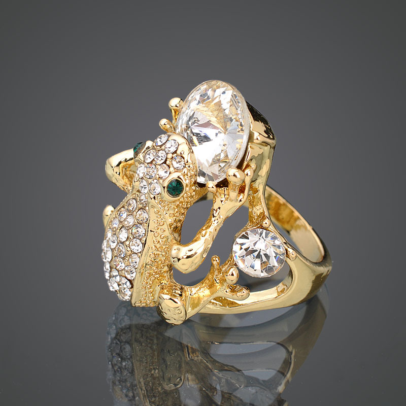 KLL0427-5 Fashion Designer Ring Real 18K Rose Gold Plated Austrian Crystal Jumping Frog Exaggerated Rings Fashion Jewelry(China (Mainland))